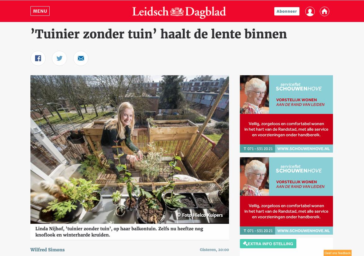 Gardenless Gardener in Leidsch Dagblad